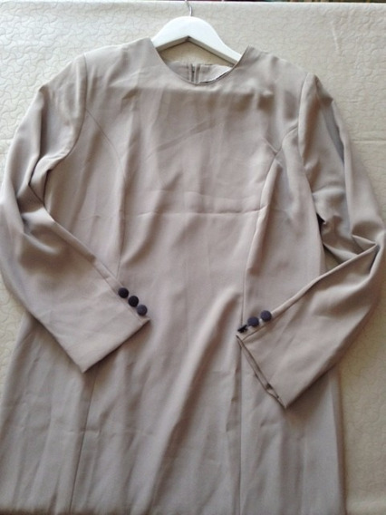 Vestido Largo Mangas Largas Impecable T50