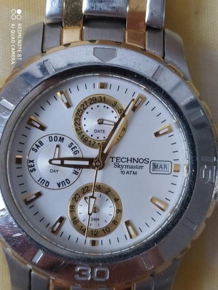 Relógio Technos Skymaster 6p89ag 100% Original Aço Analógico