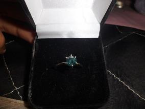 Anel Solitario Prata 925 Com Diamante Azul Natural De 0,79ct