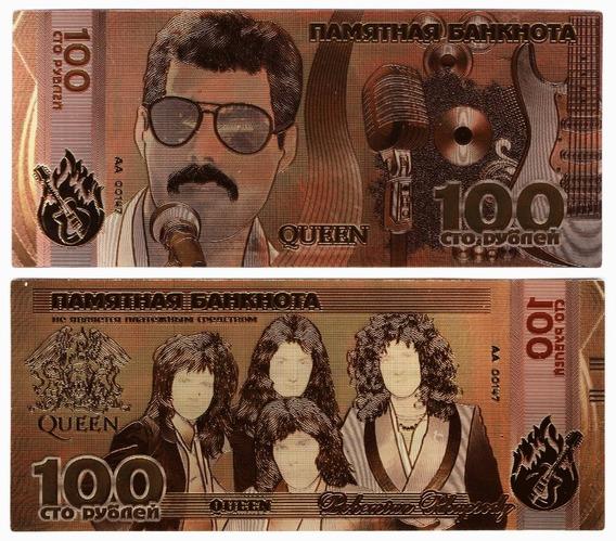 Freddie Mercury Y Queen Billete Bañado En Oro