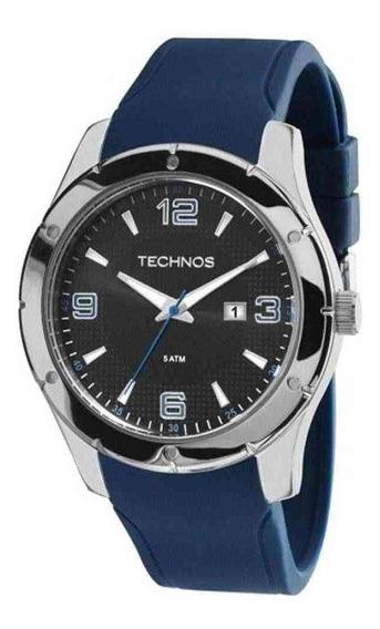 Relógio Technos Masculino Prateado Silicone Azul 2115mks/8p