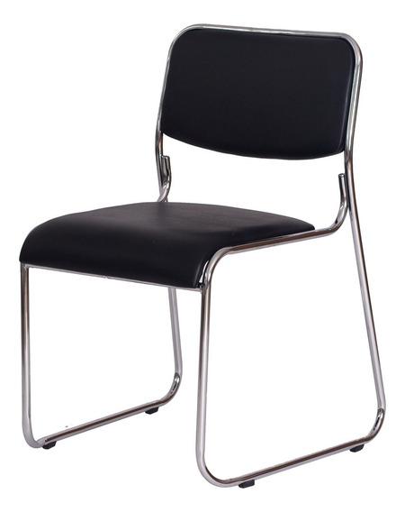 Cadeira Office Dakar Preta Base Fixa Cromada