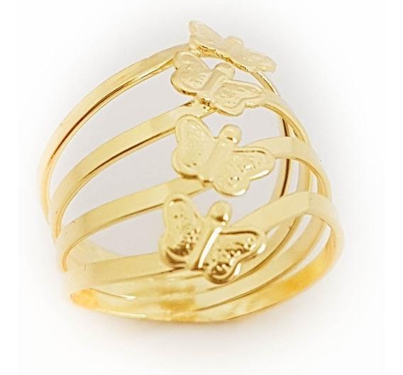 Anel Feminino Borboleta Dourada Folheado A Ouro 18k. A36