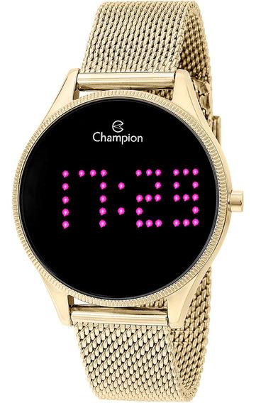 Relógio Champion Digital Redondo Luz Ponto Pink Nf Ch40026h