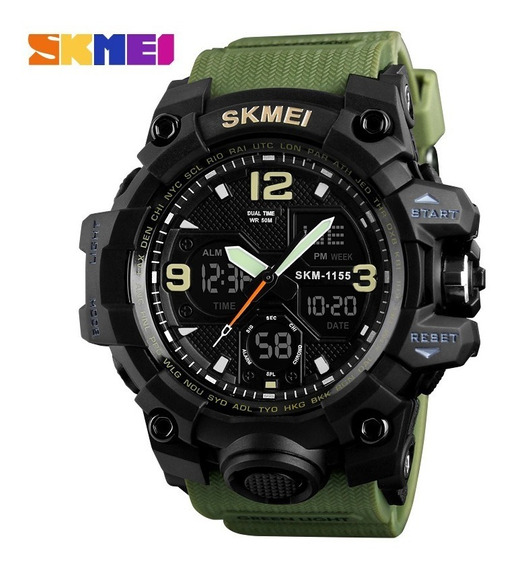 Relógio Masculino Estilo Militar Skmei 1155 Resistente A Shock A Prova De Água Barato V