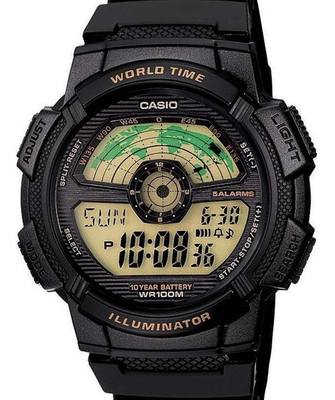 Relógio Casio Masculino World Time Preto