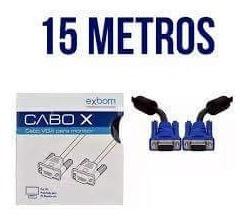 Cabo Vga 15m Monitor Lcd Pc Tv Projetor 15 Metros Blindado