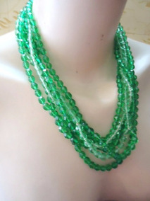 Colar De Cristal Antigo Verde - Anos 60