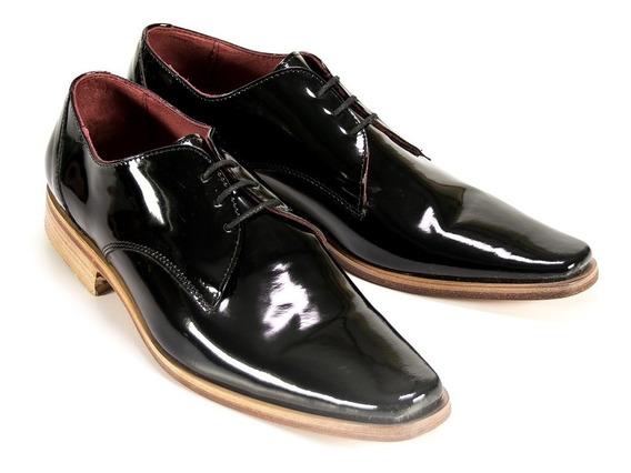 Zapato Cuero Hombre Vestir Charol Negro Eventos Fiesta Hogh