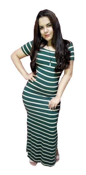 Pacote 10 Vestidos Feminino Longo Listrado Atacado Revenda