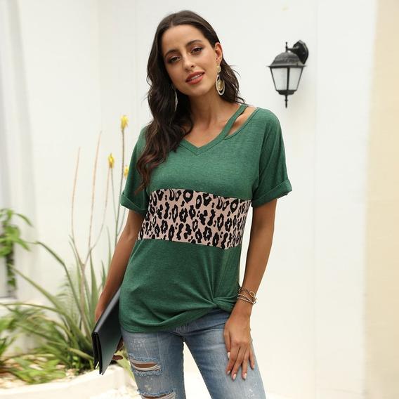 Camiseta Feminina Com Estampa Leopardo De Manga Curta
