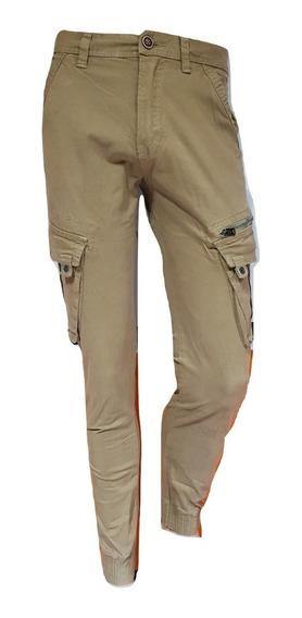 Pantalón Cargo Hombre Gabardina Elastizado Chupin C/puño