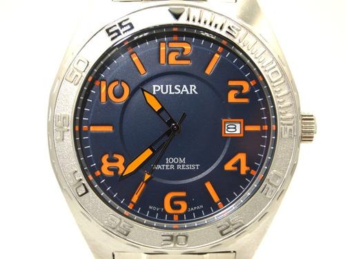 Relógio Pulsar Analógico Masculino Ps9313 Azul/laranja