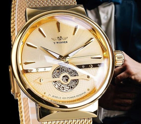 Relógio Wwiner Aut.21 Rubis Power Reserve, Cromado A Ouro