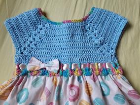 Vestido Infantil Bebê Em Crochê Com Pala Em Tecido