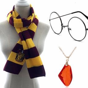 Harry Potter Cachecol Grifinóia Óculos Colar Pedra Filosofal