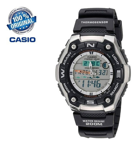 Relógio Casio Aqw-101-1avcf Termômetro Pesca Fases Da Lua