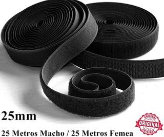 Kit Fita Velcro Faixa 25mm Laço Preto Original Promoção