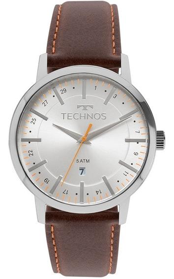 Relógio Technos Masculino Analógico Couro Marrom Barato