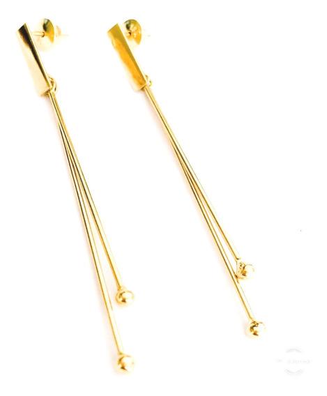 Brinco Ouro 18k Pendurado Reto Fio Com Bolinhas Pontas Lindo