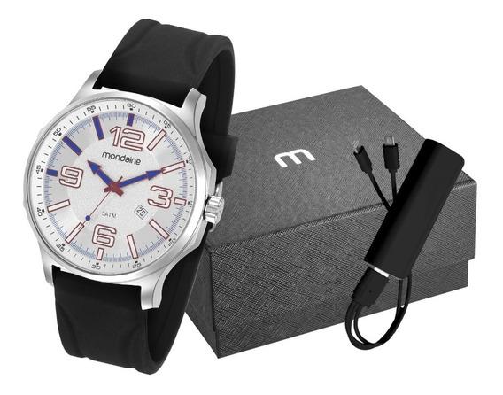 Kit Relógio Masculino Mondaine 83377g0mvni2k2 Silicone Prata