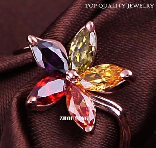 Anillo Flor Multicolor Talla 7.5 Swarovski Crystals Nuevo