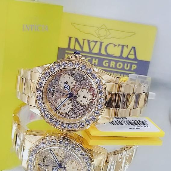 Relógio Invicta 28461 Dourado 18k Strass Feminino ** Angel