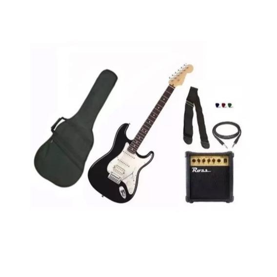 Combo De Guitarra Electrica + Equipo Ross 10w + Accesorios