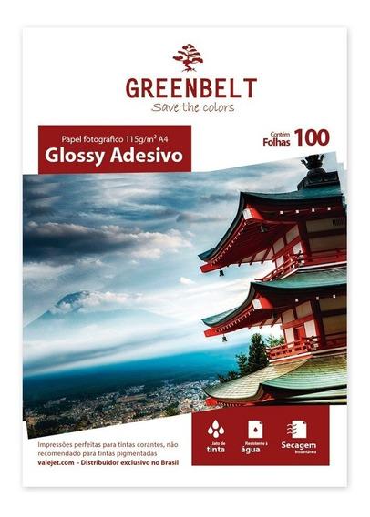 Papel Fotográfico Glossy Adesivo A4 115g Greenbelt 100 Folha