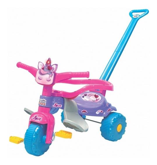 Triciclo Velotrol Infantil Uni Love Com Luz E Empurrador