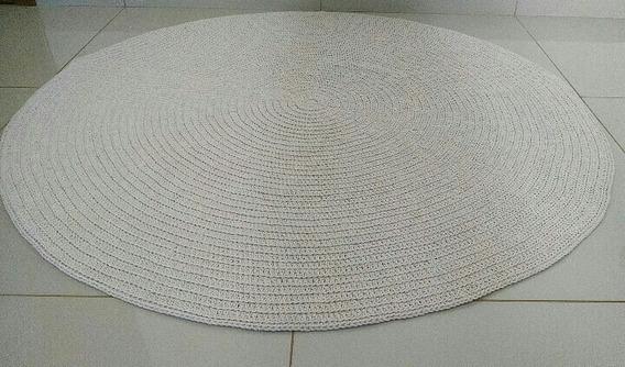 Tapete Redondo De Crochê 1,2m Quarto Bebê Sala Off White