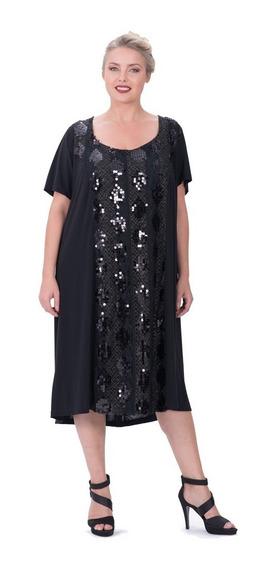 Vestido Portofem Con Frente De Lentejuelas - Talles Grandes