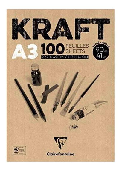 Bloco De Papel Kraft A3 90gr Clairefontaine 100 Folhas