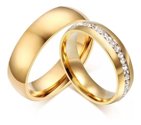 Alianca De Namoro Casamento Aço Cirúrgico C/ Pedra Zirconia 6mm Banhada A Ouro 18k O Par - Barato