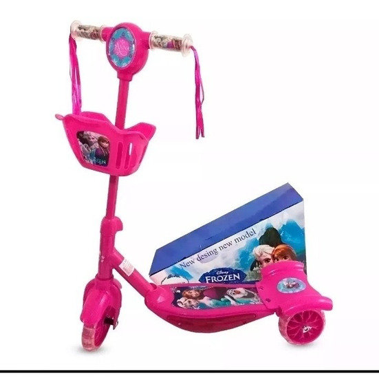 Patinete Infantil Frozen Cesta Brinquedo Menina+ Brinde***