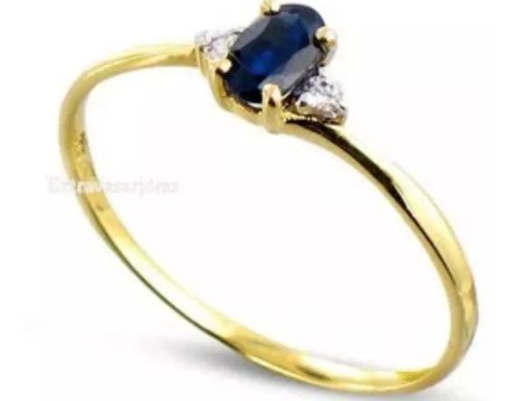 Anel Em Ouro Amarelo 18k Com Sáfira !!! E Diamantes !!