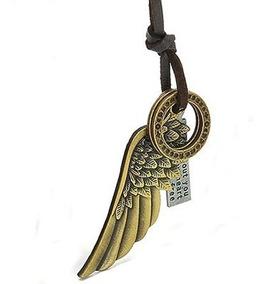 Cordão Masculino Em Couro Pingente Asas De Anjo Prata Bronze