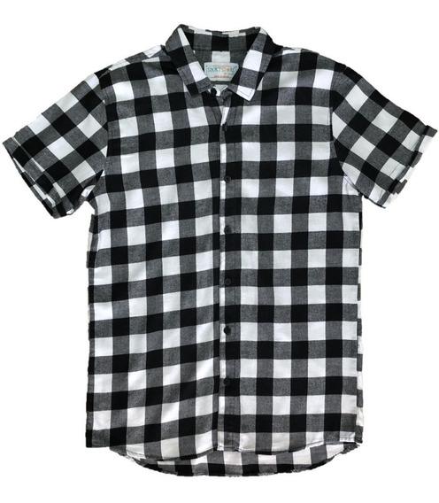 Camisa Para Caballero Manga Corta A Cuadros Negro Y Blanco