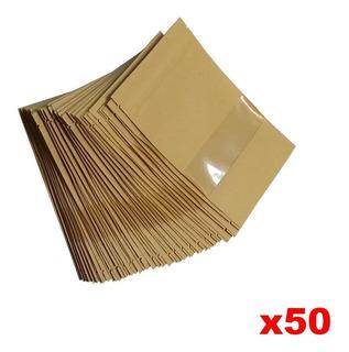 50 Bolsas Ecologica 12x20 Papel Kraft Visor Cuadrada Ziplock