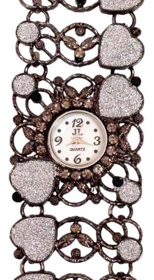 Relógio De Pulso Analógico Feminino Acabamento Em Pedraria