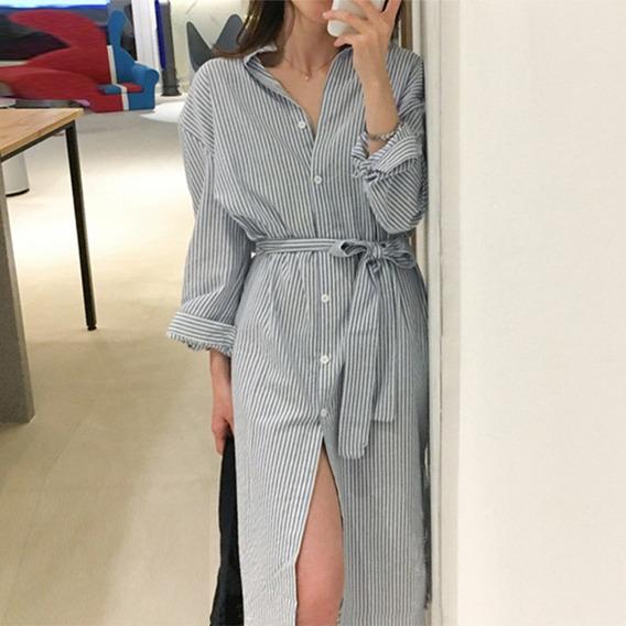 Las Mujeres De La Moda De Rayas Vestido De Camisa De Manga L