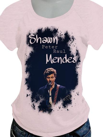 Camiseta Babylook Shawn Mendes Opcoes De Costas Blusa745