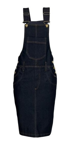 Jardineira Saia Jeans Vestido Jeans Kit 2 Peças