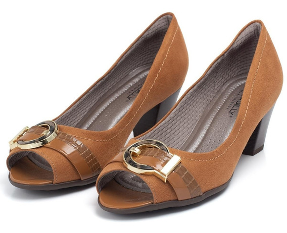 Sapato Peep Toe Piccadilly Com Enfeite Frontal - Ref 714103