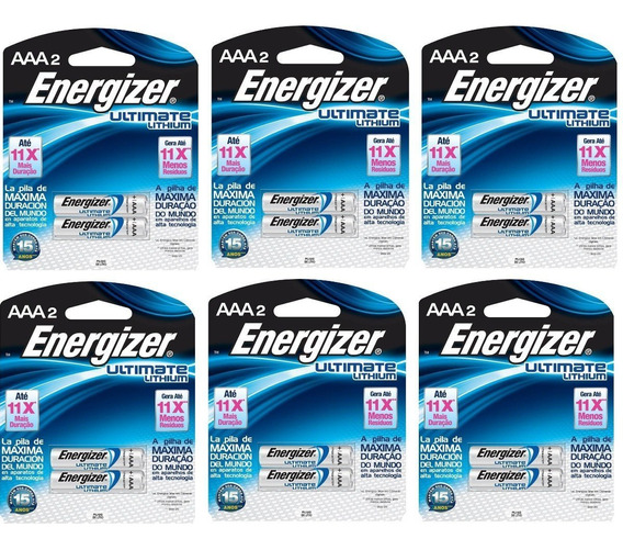 12 - Pilha Aaa 1.5v Lithium Litio Energizer Ultimate