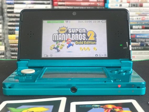 Game Nintendo 3ds Aqua Blue + Cartão 64 Gb Desbloqueado