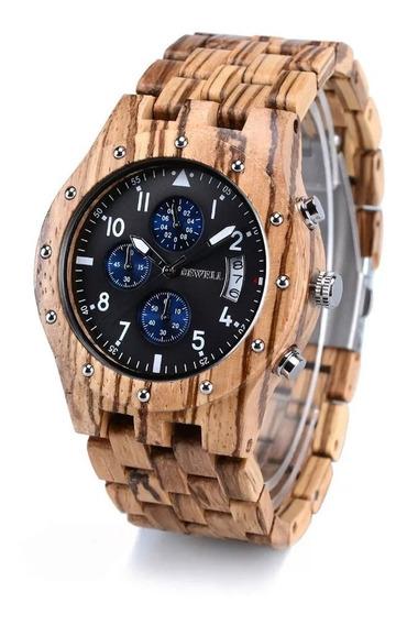 Relógio De Pulso Masculino Bewel Em Madeira De Bambu, Quartz