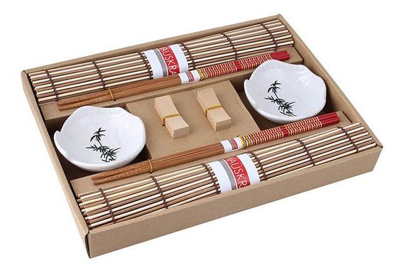 Jogo Americano Para Comida Japonesa Oriental Com Hashi Comer Sushi Sashimi Hossomakis Temaki Kit 8 Peças