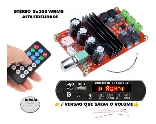 Kit Amplificador 200wrms Stéreo + Placa  De Áudio Bluetooth