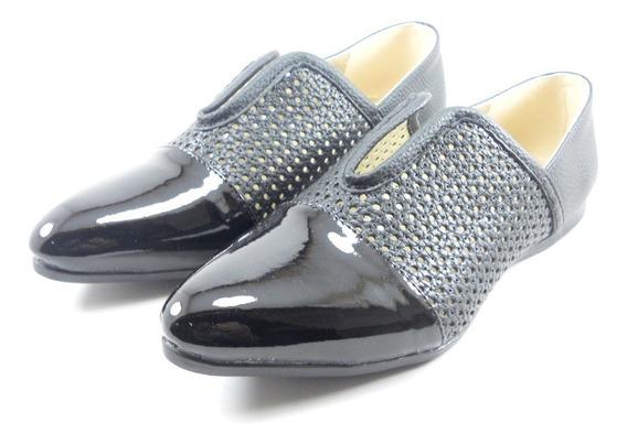 Zapato Bajo Charol Perforado Negro Mujer Dama Moda